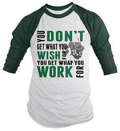 Shirts By Sarah Men's Football Shirt Get What Work For 3/4 Sleeve Raglan Shirts