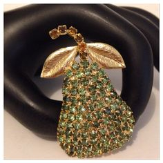 Rare Hobe Vintage Posh Pear Rhinestones Brooch Pin Rare Signed Hobe Vintage Posh Pear Multi Color Rhinestones Brooch! Gold plated. Stones multi colored on purpose and not replaced. Spectacular piece! Vintage Jewelry Brooches