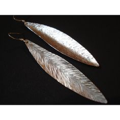 Hammered Silver Leaf Earrings Long Silver Handmade Leaf Earrings... ($21) ❤ liked on Polyvore featuring jewelry, earrings, hammered sterling silver earrings, leaves earrings, silver jewellery, hammered silver earrings and long earrings