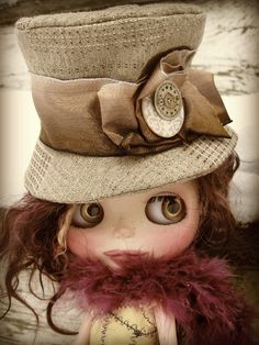 Steampunk Doll Hat for Blythe Pullip BJDs  Brown by cindysowers, $36.00