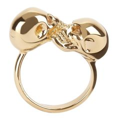 Skull Jewelry for Both Men & Women ... Alexander-Mcqueen-SHINY-GOLD-TWIN-SKULL-RING └▶ └▶ http://www.pouted.com/?p=40204