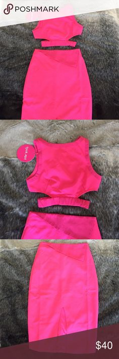 Tiger Mist (from Revolve) 2pc set 2pc set purchased from revolve. Super vibrant pink and super cute and sexy! BNWT. Elastic band on crop stretches enough that it doesn't give an elastic look when worn. Skirt is midi length with a little slit in the front. Will fit a s or xs Tiger Mist Dresses Midi