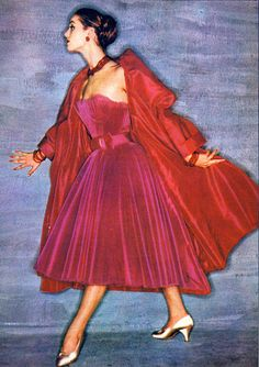Christian Dior red dress and coat 1954