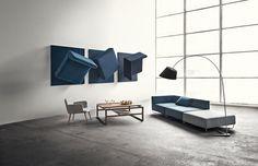 The minimalistic Orlando modular sofa and the Main square coffee table.