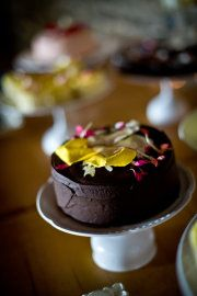 chocolate cake with yellow & pink decoration