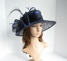 e3b68e31088 2015 NEW Church Derby Wedding Easter Carriage Sinamay Navy Royal Blue  Medium hat