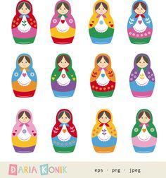 Matryoshka Dolls Clip Art Set nesting dolls babushka by dariakonik, €2.50