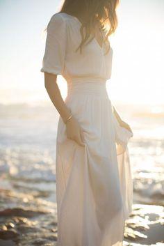 pretty three quarter length cinched waisted wedding dress