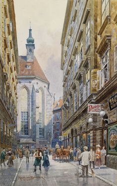 Ernst Graner Watercolor Architecture, Landscape Architecture, Watercolor Portraits, Watercolor Art, City Drawing, Oil Paintings, Urban Life, Urban Landscape, Vienna