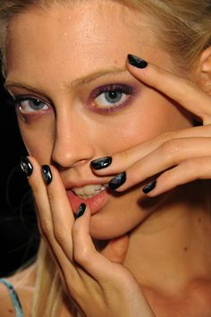 Q Galaxy Glam nails - they're out of this world!   Nicole Miller Spring 2013 Collection #nyfw