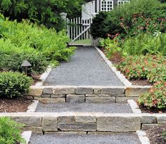 .Stone and gravel path with stairs.