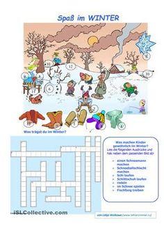 Ein Kreuzworträtsel zu lösen, einige Ausdrücke auf dem Bild finden.  - DaF Arbeitsblätter