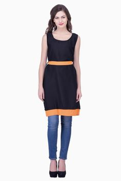 Buy Solid Black color With Orange color Womens Party Wear Beachwear Casual Dresses for Women Online India, Best Prices