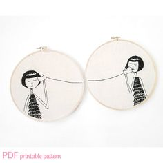 BFF Embroidery set // Eloise and Ramona play telephone // Printable PDF Pattern. $5.00, via Etsy.