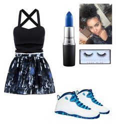 """""""Cute💙😭"""" by omgitskaay ❤ liked on Polyvore featuring McQ by Alexander McQueen, NIKE, MAC Cosmetics and Huda Beauty"""