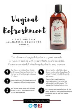 Vaginal Refreshment - Essential oils for vaginal health, an all-natural remedy for yeast infections and candidas. Wonderful all-natural douche that leaves you refreshed!