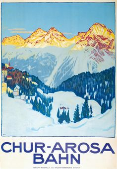 Items similar to Arosa Elecktr Bahn Chur Arosa Switzerland Vintage Travel Poster - Poster Paper, Sticker or Canvas Print / Gift Idea / Christmas Gift on Etsy Vintage Ski Posters, Retro Poster, Chur, Evian Les Bains, Swiss Travel, Tourism Poster, Railway Posters, Retro Illustration, Poster Prints