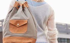Nähe Dir einen stylischen Seesack aus Deinem Lieblings-Canvas und einem Lederstoff.