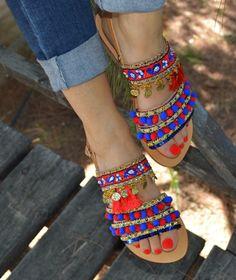 Pom Pom SandalsLeather strappy sandals Summer by SandalsofLove Pom Pom Sandals, Cute Sandals, Strappy Sandals, Ankle Strap Sandals, Summer Bags, Summer Shoes, Bohemian Sandals, Mode Shoes, Cute Slippers