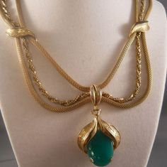 Vintage Triple Strand Pendant Necklace Green Lucite from Suzy's Timeless Treasures on Ruby Lane