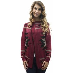 Burgundy Tribal Print Cardigan Sweater ($37) ❤ liked on Polyvore featuring tops, cardigans, burgundy, sweaters, tribal cardigans, tribal print cardigans, tribal print tops, tribal pattern cardigan and tribal print cardigan