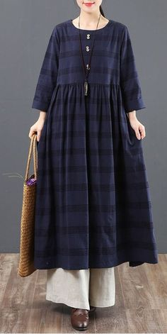 Spring Loose Cotton Plaid Maxi Dresses For Women 6151 – Linen Dresses For Women Linen Dresses, Women's Dresses, Spring Dresses, Casual Dresses, Fashion Dresses, Cotton Dresses, Vintage Dresses, Beautiful Dress Designs, Beautiful Dresses