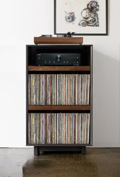 Turntable Stand with Vinyl Record Storage – audio room interior Stockage Record, Turntable Setup, Vinyl Turntable, Record Player Table, Record Table, Record Player Cabinet, Record Players, Vinyl Record Storage, Home Furniture