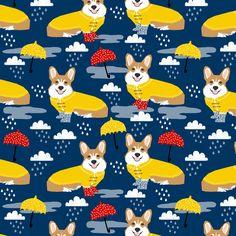 corgi rain day spring showers fabric cute corgis in rainboots fabric by petfriendly