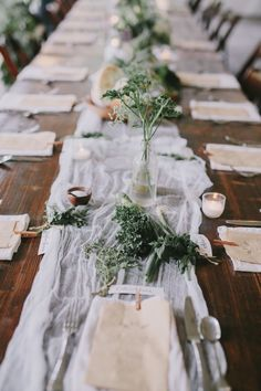 Natural and neutral color palettes can sometimes make a bigger statement than color! We love the clean look of these provincial inspired farm tables with cheese cloth runners, herbs, and medicine bottles #cedarwoodweddings | Cedarwood Weddings