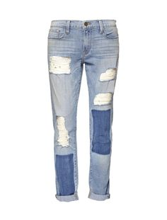 Frame Denim Garcon Boyfriend Jeans - Slouchy, relaxed, and perfectly broken in, these boyfriend jeans from Frame Denim are made for off-duty escapades. Intentional distressing at the knees lend this pair of denim that treasured lived-in appeal. Front has distressed detail through the thigh with dyed patches.