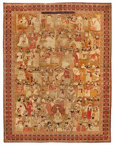 Antique Lavar Pictorial Carpet
