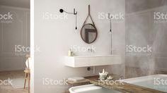 Scandinavian bathroom, white minimalistic design, hotel spa reso royalty-free stock photo