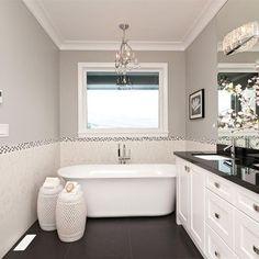 white cabinets, grey walls, dark counter top