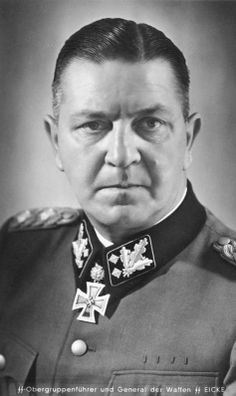 Theodor Eicke (1892-1943) was an SS-Obergruppenführer and commander of the Waffen-SS Totenkopf Division. Theodore Eicke executed SA Chief Ernst Röhm following the Night of the Long Knives purge in 1934. Eicke was killed on February 26, 1943 when his Fieseler Fi-156 Storch was shot down by Soviet troops. This man was a thug, and does not deserve credit for his medals. They belong to the brave soldiers in the Totenkopf Panzer Division that served under him.