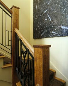 wrought iron staircase with iron top and bottom rail and wood end posts - yahoo Image Search Results Wrought Iron Staircase, Stair Railing, Stairs, Bannister, Craftsman Style Homes, Beautiful Homes, Family Room, Sweet Home, Wood