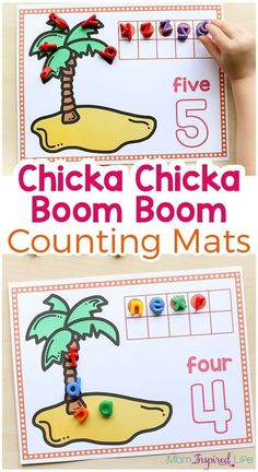 I just love these Chicka Chicka Boom Boom Counting Mats! They would be a great math activity for your Chicka Chicka Boom Boom lesson plans or even just for fun with your kids this summer!