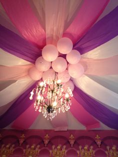 Table cloth ceiling party decor! So pretty!