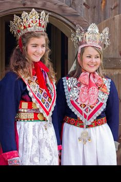 Norwegian traditional bridal wear. Crowns can be rented or they are privately owned.