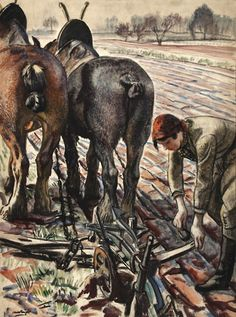 Page: Horse-drawn plough, land girl Artist: Laura Knight Completion Date: 1944 Style: Social Realism Genre: genre painting Women Artist, Girl Artist, Fighting Irish, 1950 Pinup, Women's Land Army, Land Girls, English Artists, British Artists, Farm Art