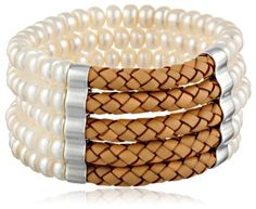 Honora Bracelet Bar White and Brown Freshwater Cultured Pearl and Leather Stretch Cuff Bracelet 75 *** Check out the image by visiting the link. (This is an affiliate link) Diy Jewelry, Jewelry Box, Jewelry Bracelets, Women Jewelry, Bangles, Wrap Bracelets, Link Bracelets, Latest Jewellery, Cultured Pearls