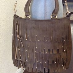 Swiss Chocolate Fringe Handbag Fringe Studded With chain shoulder strap D & L Handbags Bags