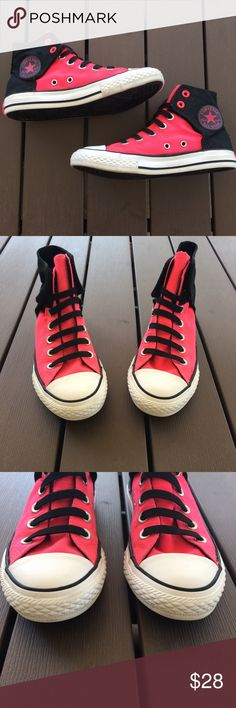 e1a40c8a26d7 Girls Converse Sneakers Girls Converse high top sneakers in pink and black.  Size 2 with