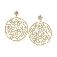 """Liz Palacios """"Plumas"""" Crystal Large Gold Floral Filigree Earrings ($73) ❤ liked on Polyvore featuring jewelry, earrings, accessories, swarovski crystal jewelry, clear crystal earrings, vintage filigree earrings, crystal earrings and vintage dangle earrings"""