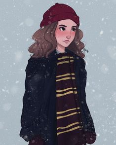 Hermione Granger in the winter Harry Potter Illustrations, Harry Potter Artwork, Harry Potter Drawings, Harry Potter Images, Harry Potter Wallpaper, Hermione Granger Drawing, Hermione Fan Art, Harry And Hermione, Mundo Harry Potter