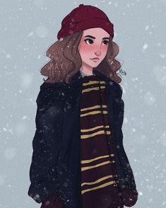 Hermione Granger in the winter Mundo Harry Potter, Harry Potter Anime, Harry Potter World, Harry Potter Books, Harry Potter Artwork, Harry Potter Drawings, Harry Potter Wallpaper, Hermione Granger Art, Harry Potter Jk Rowling