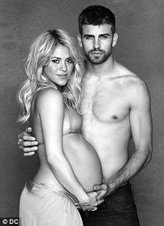 Happy couple: Shakira and Gerard Pique pose for the photoshoot