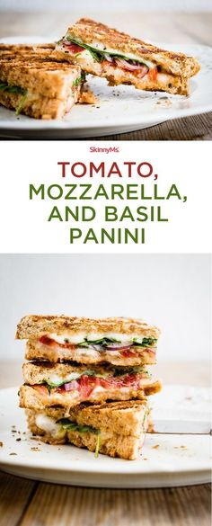 Super delicious, crisp Tomato, Mozzarella, and Basil Panini//