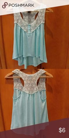 True 21 lace tank top This cute lace top and cotton on the bottom is 95% rayon and 5% linen. It's short in the front and long in the back. Rue21 Tops Tank Tops
