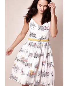 This pretty Scandi sketch day dress from Yumi is the perfect choice for SS17. In lightweight cotton, it has a unique Scandi-inspired sketch print, contrast yellow belt and sweetheart neckline. Pair with flat sandals for instant summer style.  <h4>Product details</h4>  Cotton 100%  97 cms in length