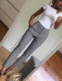 White fitted top Black and white slacks - fashion beauty